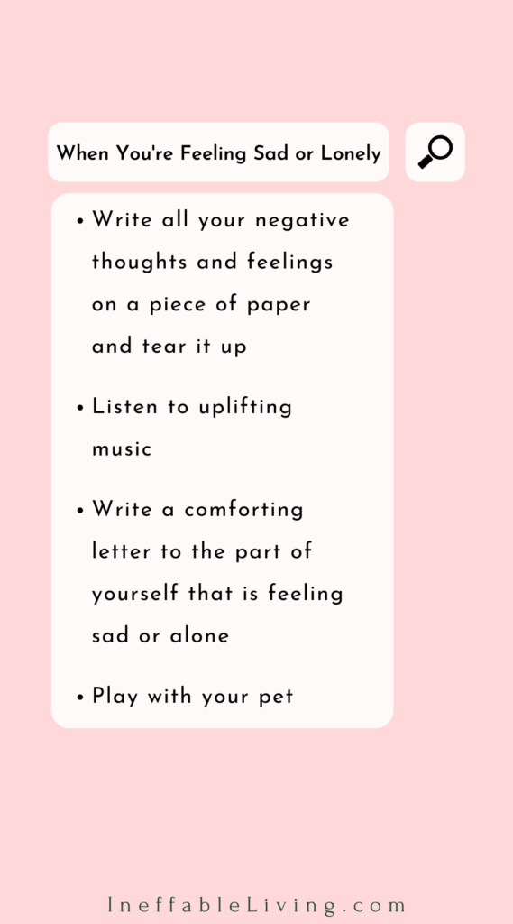 things to do when you feel sad or lonely