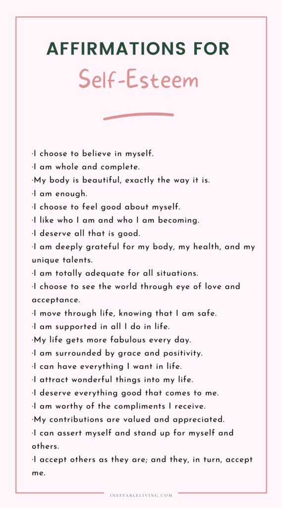Affirmations for self-esteem