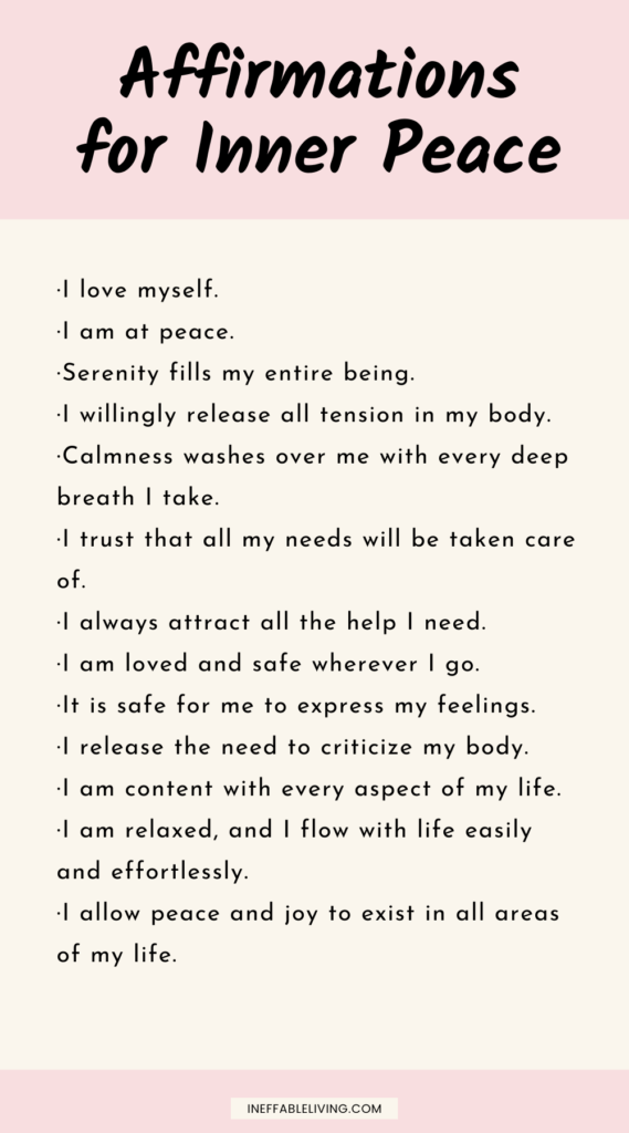 Affirmations for inner peace