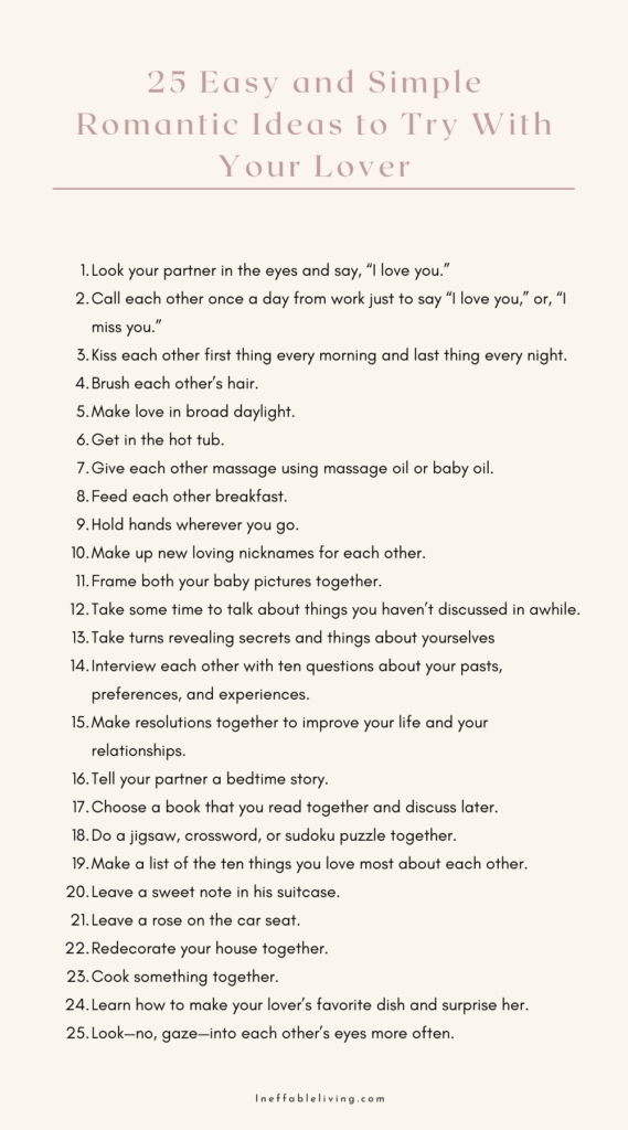 25 Easy and Simple Romantic Ideas to Try With Your Lover
